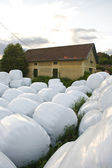 Hay balls in front of a farm — Stock Photo