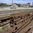 Iron beams in a train station — Stock Photo