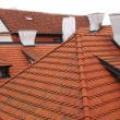Field of red tiled roofs. - Stock Photo