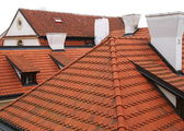 Field of red tiled roofs. — Stock Photo