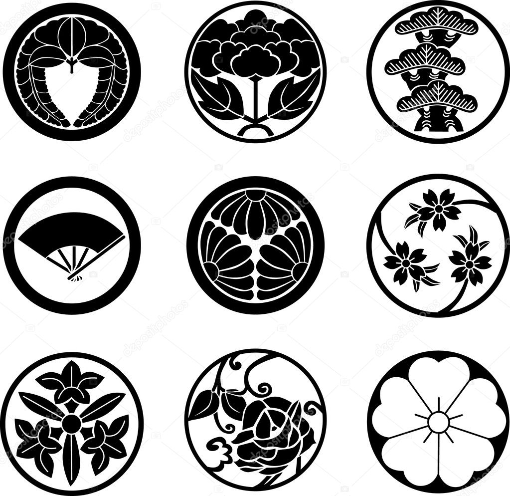 Historical Japanese Family Crests ,nine types. — Stock Vector #3839009