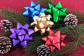 Christmas Bows Evergreen Branch and Pine Cones — Stock Photo