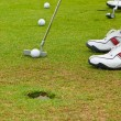 Stock Photo: Putt golf on green course