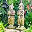 Stock Photo: Welcome twin children statue thailand