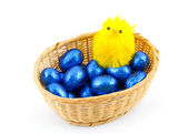 Basket with Easter eggs and small chicken. — Stock Photo