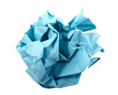 Ball of crumpled blue paper. — Stock Photo