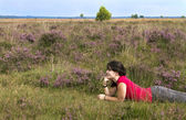 Girl in the heath — Stock Photo
