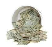 Twenty Dollar Bills Spilling out of Bucket — Stock Photo