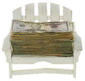 Big Stack of Twenty Dollar Bills in a Chair: Vacation Money — Stock Photo