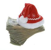 Twenty Dollar Bills with Red Santa Hat — Stock Photo