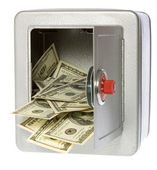 One Hundred Dollar Bills Coming Out of an unlocked, open Safe — Stock Photo