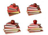 MONTAGE of 4: Red Apple on top of Books — Stock Photo