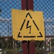 Warning Signs: Danger Of Defeat By An Electric Current — Stock Photo