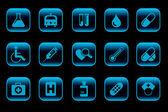 Icone di sanità e pharma — Vettoriale Stock