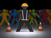 Paper men at work — Stock Photo