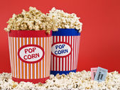 Two popcorn buckets — Stock Photo