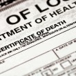 Stock Photo: Certificate of Death