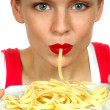 WomWith Pasta — Stock Photo #3851059