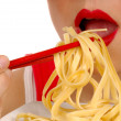 Woman Eating Pasta 4 — Stock Photo #3851219