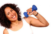 Woman with weight — Stock Photo