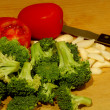 Stock Photo: Brocolli Garlic and Tomatoes