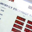 Currency exchange rates board — Stock Photo