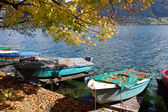 Boats in autumn — Stock Photo