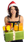 Pretty girl with christmas presents — Stock Photo