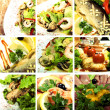 Collection of seafood and meat dishes — Stock Photo