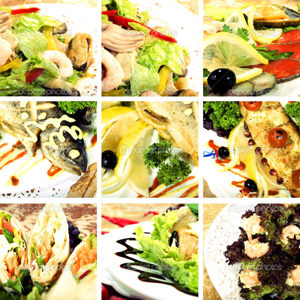 Collage of dishes with seafood and vegetables — Stock Photo #3911802
