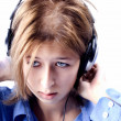 Young girl  in headphones — Stock Photo