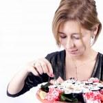 chica con sushi — Foto de Stock