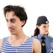Criminal and policeman — Stock Photo