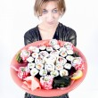 Girl with sushi — Foto de Stock