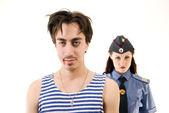 Criminal and policeman — Stockfoto