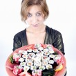 Girl with sushi — Stockfoto