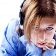 Young girl in headphones — Stock Photo