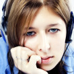 Young girl in headphones — Stock Photo #4750881