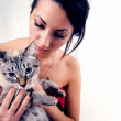 Pretty woman with cat — Stock Photo