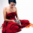 Pretty woman with cat — Foto Stock