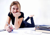 Girl spending time in studying — Stock Photo