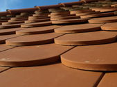 Close-up of a roof in germany with special shingles — Stock Photo