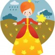 Little princess with maple leaf - Stock Vector