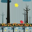 Rainy autumn landscape - Stock Vector