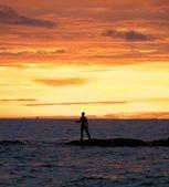 Fishing Man at Sunset — Stock Photo