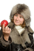Apple and winter — Stock Photo