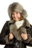 Attractive woman in winter clothes — Stock Photo