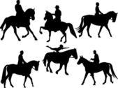 Jockey silhouette collection - vector — Stock Vector