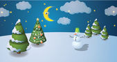 Winter scenary — Stock Vector