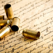 Bullet casings on bill of rights - Stock Photo